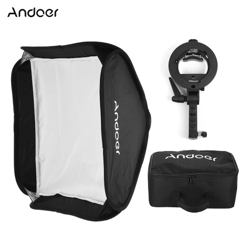 Andoer Photo Studio Multifunctional 40 * 40cm Folding Softbox with S-type Handheld Flash Speedlite Bracket with Bowens Mount and Carrying Bag for Portrait or Product Photography