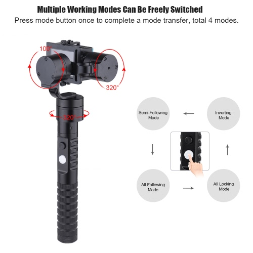 3-Axis Handheld Gimbal Brushless Action Camera Gyro Stabilizer for GoPro Hero 4-3+-3 for Xiaoyi AEE