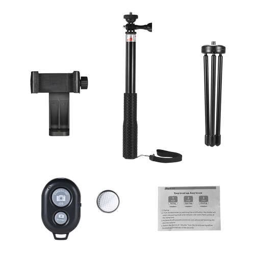 Telescoping Selfie Stick with Mini Tabletop Tripod Phone Holder Remote Controller for GoPro Hero 5/4/3+/3 Action Cameras for Ricoh Theta S, M15 Cameras Compact Cameras and 60-100mm Width Smartphones D4786