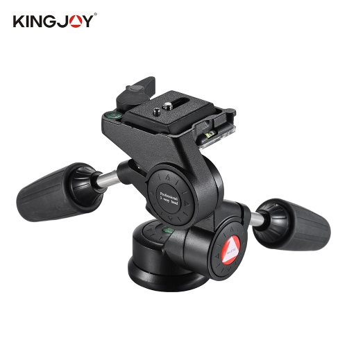 Kingjoy KH-6730 Mango doble tridimensional, cabeza de trípode de video
