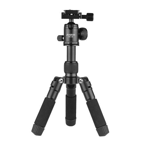 "Andoer BC-30ボールトップ付きミニテーブルトップ三脚スタンド1/4 ""クイックリリースプレート5セクションアルミ合金最大荷重5kg / 11Lbs Canon Nikon Sony A7 DSLRカメラ用スマートフォンDV"