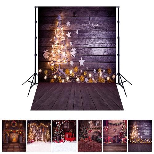Andoer 1.5 * 2 mètres / 5 * 7 pieds Thème de vacances de Noël Contexte Photo Studio Props Pliage de fibre de polyester pliable Photographie Backdrop