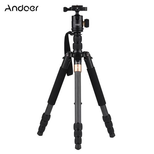 Andoer TP-668SC Portable Carbon Fiber Tripod Photography Travel Tripod