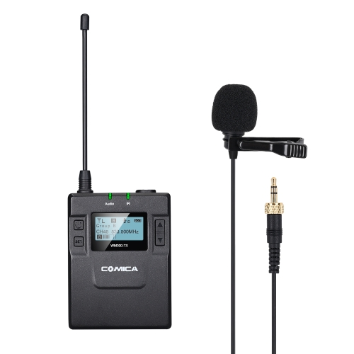 CoMica CVM-WM300TX UHF 96-Channel Wireless Metal Microphone Transmitter with Lavalier Mic