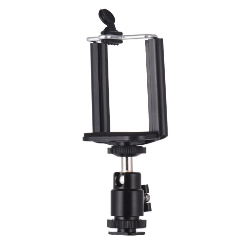 Adjustable Phone Holder Clip + Mini Ball Head with 1/4 Inch Screw Mounts for Canon Nikon Sony DSLR ILDC Mini DV Monitor Video Light Tripod for iPhone Samsung Huawei 5.5-8.5cm Width Smartphone