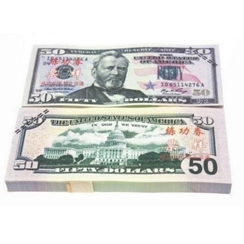 Bezeichnung 50 USD Pack USD Papier Bar Atmosphäre Requisiten Geld für Film TV Video Neuheit Fotografie Werkzeuge (20 Stücke)