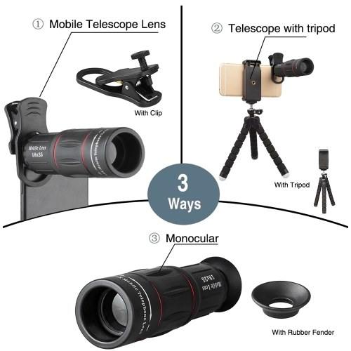 Andoer APL-T18XBZJ5 Telephoto 4 in 1 Cellphone Lens Universal Kit 18X Mobile Phone Telephoto Lens 198° Fisheye Lens 0.63X Wide Angle 15X Macro Lens with Remote Shutter Mini Tripod Phone Holder for iPhone Samsung Huawei Xiaomi Most Smartphones
