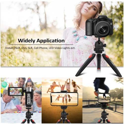 Andoer Mini Tabletop Tripod Phone Camera Tripod Removable Ball Head Portable Foldable with 1/4