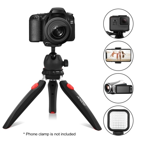 "Andoer Mini Tabletop Tripod Phone Camera Tripod Removable Ball Head Portable Foldable with 1/4"" Mounting Screw for DSLR/Mirrorless Cameras DV LED Video Light"