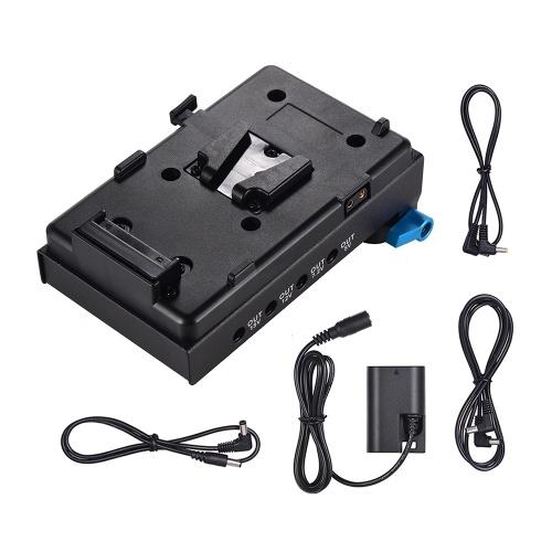 Andoer VマウントV-lockバッテリープレートアダプター(15mmデュアルホールロッドクランプ付)LP-E6ダミーバッテリーアダプター(BMCC用)BMPCCモニター用オーディオレコーダー用キャノン5D2 / 5D3 / 5D3 / 5D4 / 80D / 6D2 / 7D2マイク周波数ディバイダー