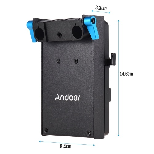 Andoer V Mount V-lock Battery Plate Adapter with 15mm Dual Hole Rod Clamp LP-E6 Dummy Battery Adapter for BMCC BMPCC Canon 5D2/5D3/5D4/80D/6D2/7D2 for Monitor Audio Recorder Microphone Frequency Divider D6246
