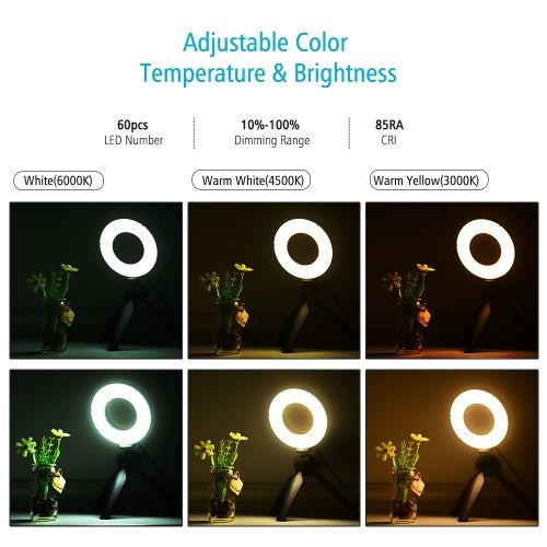 Andoer Portable 4.6 Inch LED Ring Light Lamp 3 Light Modes & Dimmable Brightness with Mini Tripod Stand Selfie Ringlight for Vlog YouTube Photo Studio Live Streaming Video Portrait Makeup Photography
