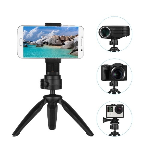 Andoer Folding Mini Tripod Stand Phone Camera Portable Tabletop Holder with 360 Degrees Rotatable Ball Head Cellphone Clip Compatible for iPhone Android Smartphone DSLR Camera Sports Camera Webcam Projector