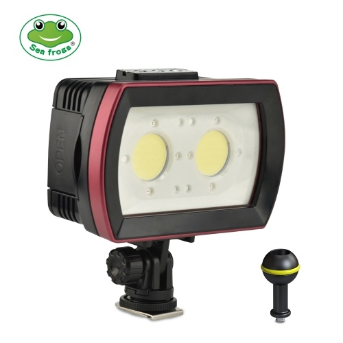 Sea frogs SL-21 LED Diving Light Underwater Photography Fill-in Lamp 2pcs LEDs Aluminum Alloy 40M Waterproof IPX8 with White(Strong-Low-SOS)/ Red/ Blue Lights Max. 3500LM