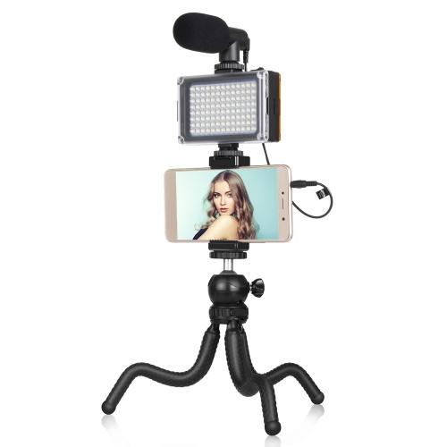 Suporte para tripé flexível PULUZ Mini Octopus + clipe de telefone + microfone + kit de luz de preenchimento para transmissão ao vivo