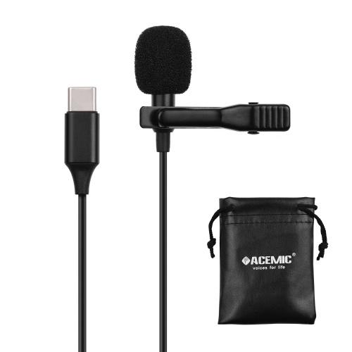 ACEMIC Microfono lavalier a testa singola per dispositivi di interfaccia di tipo C.