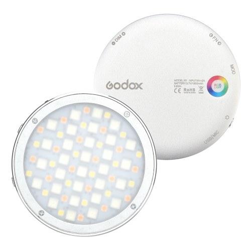 Godox R1 Круглый RGB Мини Творческий Светодиодный Видео Свет Заполняющего Света 2500K-8500K CRI 98