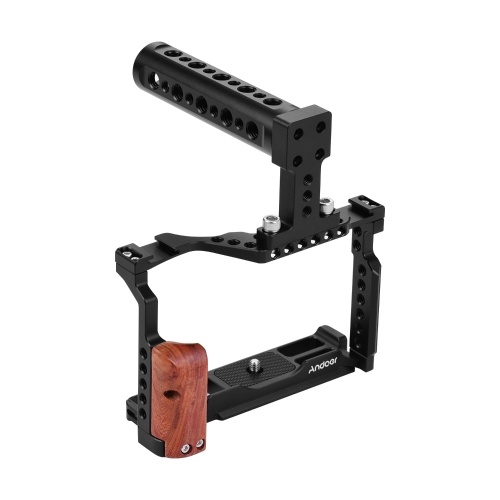 Andoer Video Camera Cage + Top Handle Kit Aluminum Alloy with Dual Cold Shoe Mount Compatible with Fujifilm X-T3/X-T2