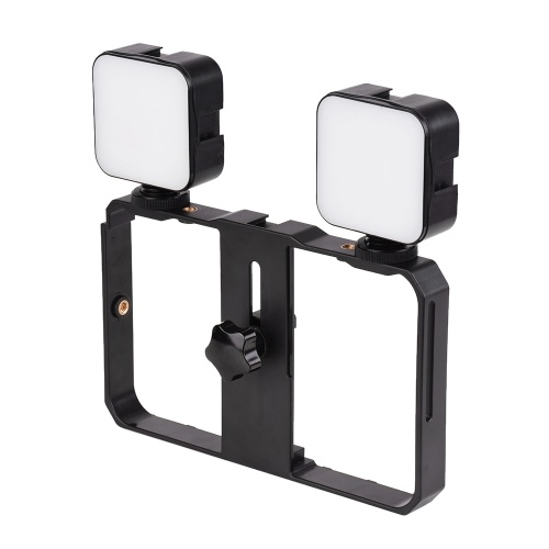 Andoer Mini LED Video Light 5W Photography Fill-in Lamp 6500K Dimmable, 2pcs + Handheld Smartphone Video Bracket Phone Stabilizer Cage with Phone Holder 3 Cold Shoe Mounts