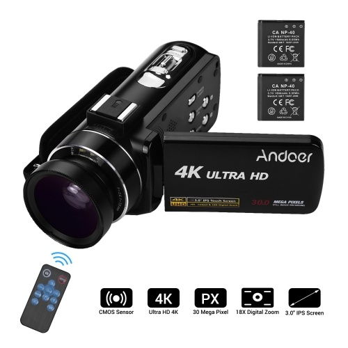 Andoer 4K Ultra HD Handheld DV Professional Digital Video Camera CMOS Sensor   Camcorder with 0.45X Wide Angle Lens with Macro Hot Shoe Mount 3.0 Inch IPS Monitor Burst Shooting Anti-Shaking Function