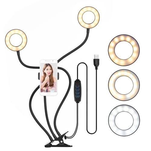 docooler Clip-On Mini USB Ring Light Fill-in Lamp Dual Lights 3 Modalità di illuminazione