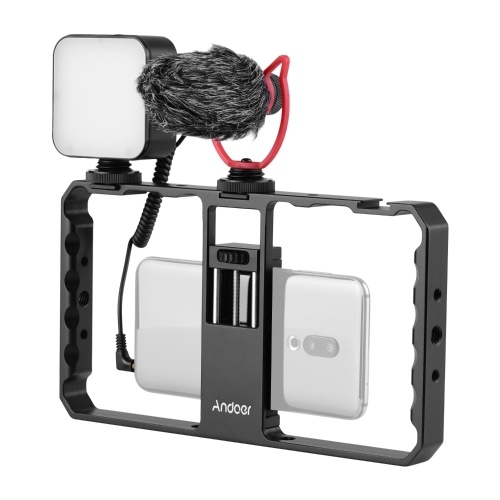 Andoer Smartphone Video Rig Grip com Rig LED Light Microphone