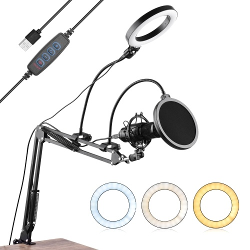 6.3inch/16cm Video Microphone Ring Light Kit