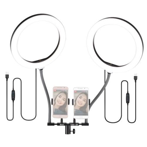 Kit d'éclairage vidéo à double anneau selfie bicolore dimmable 10 pouces / 26 cm