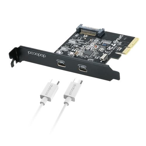 3.1 PCI Express-Card com Portas dupla reversível tipo C dodocool SuperSpeed USB 5V 15-Pin Connector Gen 2 10 Gbps Preto