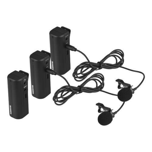 MAMEN Portable Wireless Lavalier Microphone System 2.4G Transmission with 2 Transmitters 1 Receiver 3.5mm TRS to TRS TRRS Cable for Live Streaming Interview Video Broadcast Audio Recording