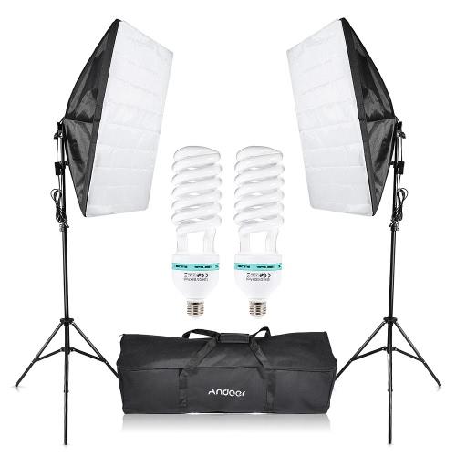 Photography Studio Cube Umbrella Softbox Light Lighting Tent Kit Photo Video Equipment 2 * 135W Bulb 2 * Tripod Stand 2 * Softbox 1 * Carrying Bag for Portrait Product