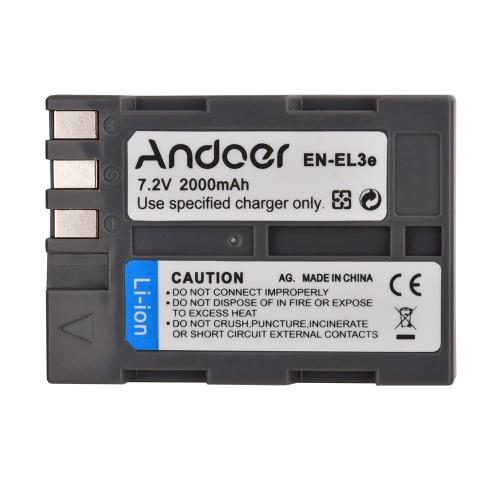 Andoer EN-EL3e recargable cámara videocámara Li-ion batería 7.2V 2000mAh para Nikon D700 D300 D200 D80 D90 D70s D300s D50 D100