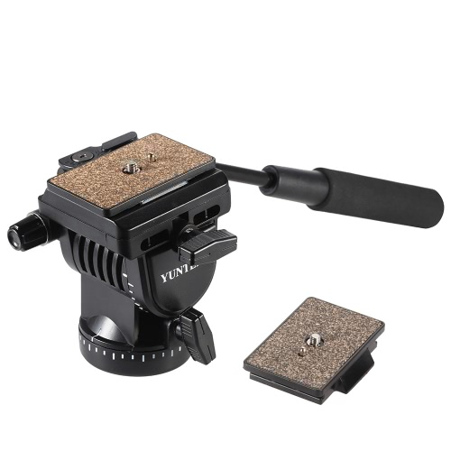 YUNTENG YT-950 Professional DSLR Camera Video Fluid Drag Tilt Pan Damping Head with Handle Two Quick Release Plates for Nikon Canon Sony Samsung Panasonic Tripod Monopod Slider Rail