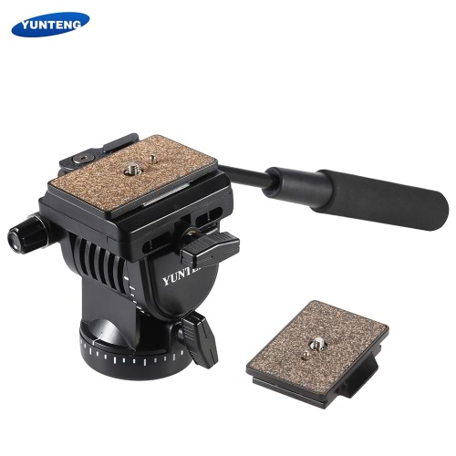 Yunteng YT-950 Profesjonalne DSLR Camera Fluid Film Drag Plandeka Pan Tłumienie Głowa z uchwytem dwa szybkie Płyty dopuszczenia do Canon Nikon Sony Panasonic Samsung statyw monopod Slider Rail