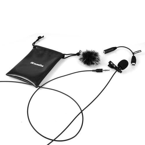 Commlite CVM-V01GP Lavalier Clip-on Mikrofon dookólny mikrofon pojemnościowy w / Wiatrowej Muff dla GoPro Hero 3/3 + / 4 działania Camera