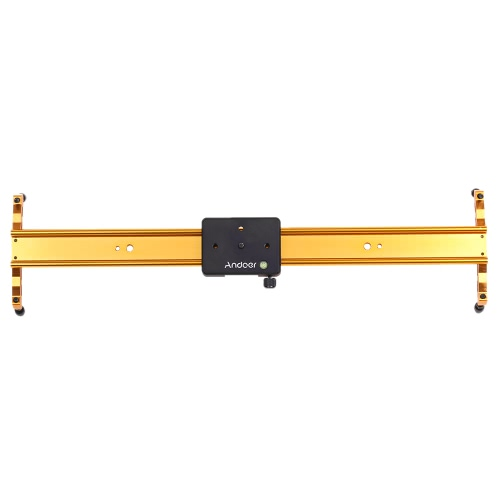 Andoer 60cm Video Track Slider Dolly Track Rail Stabilizer Aluminum Alloy for Canon Nikon Sony Cameras Camcorders Max Load Capacity 6Kg Gold Color