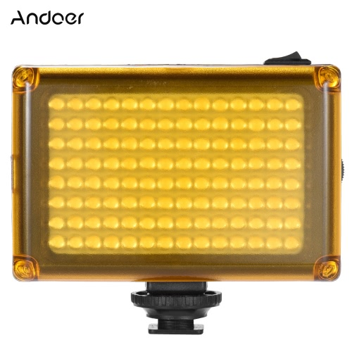 Andoer AD-112 Mini Portable sur l'appareil photo LED vidéo Fill-in Light Panel 5500K / 3200K CRI85 + blanc et orange Filtres pour Caméscope Canon Nikon Sony DSLR