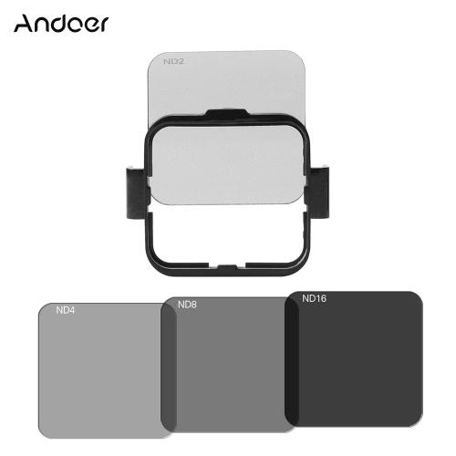 Andoer Plaza de filtro de la lente Kit Protector de (ND2 / ND4 / ND8 / ND16) para GoPro Hero4 Sesión w / sostenedor del marco de montaje de filtro