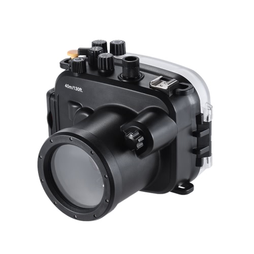 MEIKON SY-14 40 m / 130 pies bajo el agua de la cámara a prueba de agua caja de la cámara a prueba de agua Vivienda Negro para Sony A7 A7R