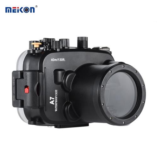 MEIKON SY-14 40m / 130ft Underwater Waterproof Camera Housing Black Waterproof Camera Case for Sony A7 A7R
