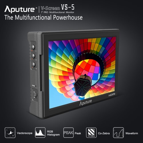 Aputure VS-5 7 Inch Pro Multifunctional Field Monitor 1920*1200 High Resolution HD & HD-SDI Input with Waveform Vectorscope Histogram Zebra False Color