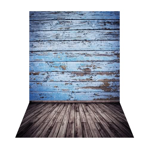 Image of 1.5 * 2.1m/5 * 6.9ft Photography Backdrop Background Digital Printed Green Cement Wall Wooden Floor Pattern for Kid Children Baby Newborn Portrait Studio Photography
