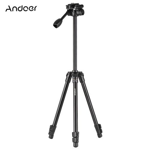 Andoer Professional Przenośny aluminiowy statyw z aluminium z głowicą kulistą Q08 do aparatów Canon Nikon Sony DSLR ILDC Maksymalna pojemność ładowania 5 kg