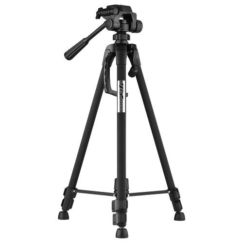 Portable Aluminum Alloy Tripod with 3-Way Damping Tripod Head for Canon Nikon Sony DSLR ILDC DV Cameras Max. Height 140cm Max Load Capacity 3kg
