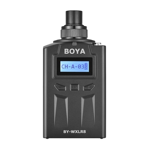 Trasmettitore a spina BOYA BY-WXLR8 con display LCD per BY-WM8 BY-WM6 Wireless Lavalier Microfono a 3 pin XLR Mic Audio Mixer