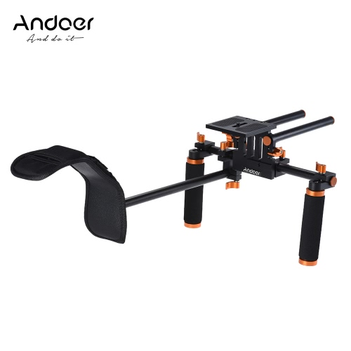 Andoer DSLR Camera Camcorder Shoulder Rig  Handheld Stabilizer Movie Film Making System with 15mm Rail Rod for Canon Nikon D6300 D6000 Sony A7 to Mount Matte Box Follow Focus