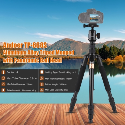 andoer tp-668s portable aluminum alloy tripod photography travel tripod