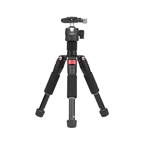 Andoer K521 Portable 5-teilige ausziehbare Aluminiumlegierung Stativ mit Mini-Kugelkopf niedriger Schwerpunkt 1/4