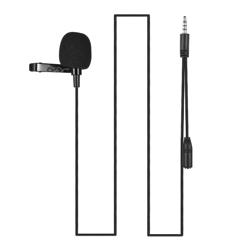Mini Clip-on Lapel Lavalier Condenser Microphone Mic with 3.5mm Headphone Output Jack for iPhone iPad Android Smartphone DSLR Camera Computer PC Laptop