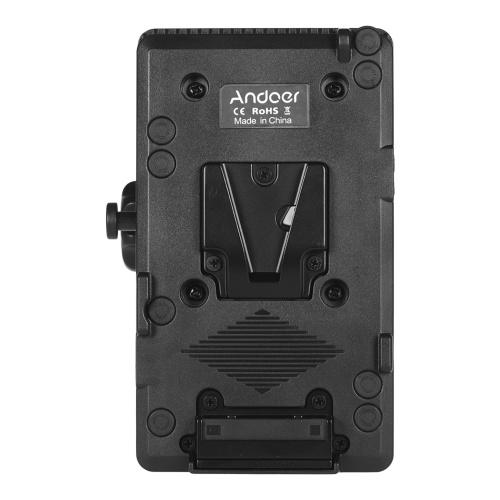 Adaptador de placa de bateria Andoer V Mount V-Lock Fonte de alimentação Conector D-tap com braçadeira para bateria BP de câmera Sony